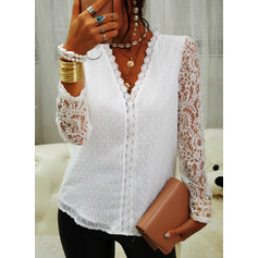 Regular Fitted Lace Solid Elegant Long Sleeves Puff Sleeves (1003258187)