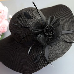 Ladies' Elegant/Eye-catching/Fancy Raffia Straw With Feather Straw Hat