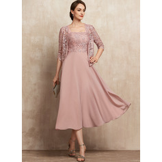 A-Line Square Neckline Tea-Length Chiffon Lace Mother of the Bride Dress With Beading Sequins