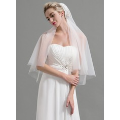 Two-tier Cut Edge Elbow Bridal Veils With Applique