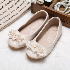 Girl's Leatherette Closed Toe Flats With Rhinestone Flower