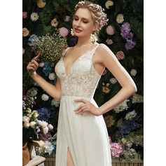 A-Line V-neck Floor-Length Wedding Dress With Lace Split Front