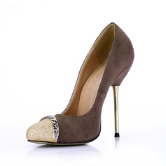 Women's Suede Sparkling Glitter Stiletto Heel Pumps Closed Toe With Chain shoes