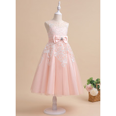 A-Line Ankle-length Flower Girl Dress - Tulle Sleeveless Scalloped Neck With Lace/Beading/Rhinestone/Back Hole