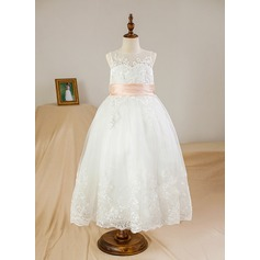 Ball Gown Tea-length Flower Girl Dress - Satin/Tulle Sleeveless Scoop Neck With Appliques/Bow(s)/Back Hole (010095158)