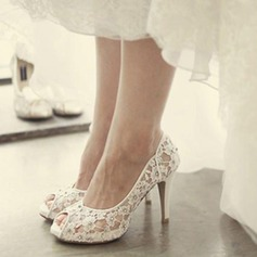 Women's Lace Stiletto Heel Peep Toe Platform Beach Wedding Shoes With Rhinestone