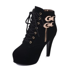 Women's Suede Stiletto Heel Pumps Boots Ankle Boots With Buckle Zipper Lace-up shoes