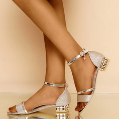 Women's PU Chunky Heel Peep Toe Pumps Sandals With Buckle (047236279)