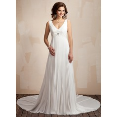 A-Line/Princess V-neck Chapel Train Chiffon Wedding Dress With Lace Beading Pleated