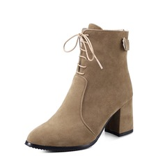 Women's Suede Chunky Heel Pumps Ankle Boots With Lace-up shoes
