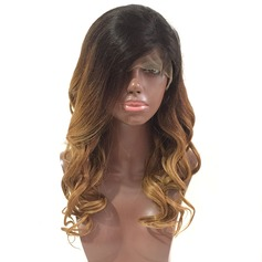4A Non remy Loose Wavy Human Hair Lace Front Wigs 180g