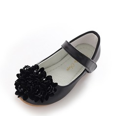 Girl's Closed Toe Leatherette Flat Heel Flats Flower Girl Shoes With Rhinestone Velcro Tassel