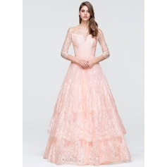 Ball-Gown Off-the-Shoulder Floor-Length Lace Prom Dresses
