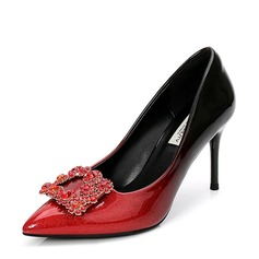 Women's Patent Leather Stiletto Heel Pumps Closed Toe With Rhinestone shoes