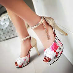 Women's Leatherette Stiletto Heel Sandals Pumps Peep Toe With Rhinestone Buckle Others shoes (087124720)