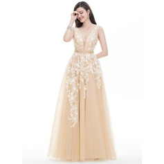A-Line/Princess V-neck Floor-Length Tulle Prom Dress With Beading Sequins (018105689)