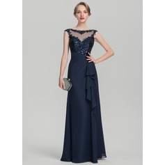 A-Line/Princess Scoop Neck Floor-Length Chiffon Sequined Mother of the Bride Dress With Cascading Ruffles