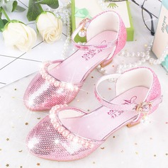 Girl's Round Toe Leatherette Low Heel Flower Girl Shoes With Imitation Pearl Rhinestone Velcro