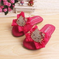 Girl's Leatherette Flat Heel Peep Toe Slingback Slippers With Rhinestone