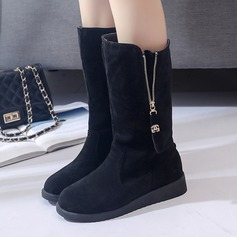 Women's Suede Wedge Heel Boots Mid-Calf Boots With Zipper shoes