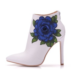 Women's Leatherette Stiletto Heel Boots Pumps With Flower