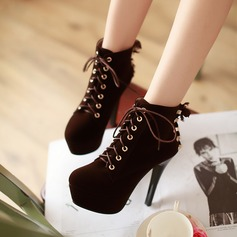 Women's Suede Stiletto Heel Platform Ankle Boots With Braided Strap shoes