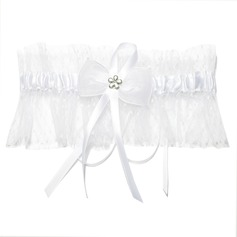 Glamourous Satin With Ribbons Beading Wedding Garters