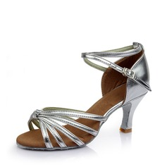 Women's Satin Heels Sandals Latin With Hollow-out Dance Shoes