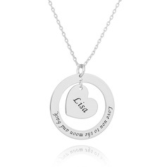 Custom Silver Engraving/Engraved Circle Necklace With Heart - Birthday Gifts Mother's Day Gifts