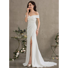 Sheath/Column Sweep Train Stretch Crepe Wedding Dress With Ruffle Split Front (265254721)