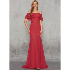 Trumpet/Mermaid Off-the-Shoulder Sweep Train Chiffon Evening Dress With Sequins