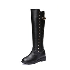 Women's Real Leather Low Heel Closed Toe Boots Mid-Calf Boots With Rivet shoes