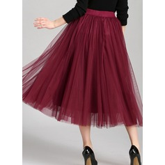 A-Line Skirts Mid-Calf Plain Polyester Skirts (1005163008)