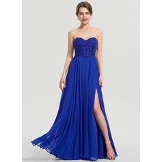 A-Line Sweetheart Floor-Length Chiffon Prom Dresses With Beading Sequins Split Front