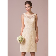 Sheath/Column Scoop Neck Knee-Length Lace Bridesmaid Dress
