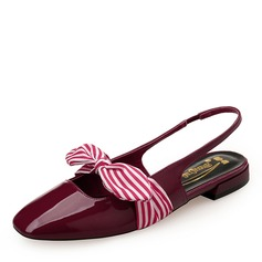Women's Patent Leather Flat Heel Flats Closed Toe Slingbacks Mary Jane With Bowknot Elastic Band shoes
