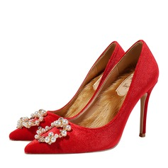 Women's Suede Stiletto Heel Closed Toe Pumps With Crystal
