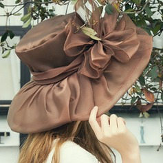 Ladies' Beautiful Organza With Silk Flower Floppy Hat/Beach/Sun Hats/Kentucky Derby Hats
