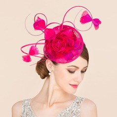 Ladies' Amazing Cambric With Feather/Silk Flower Fascinators