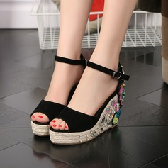 Women's Suede Wedge Heel Sandals Pumps Platform Wedges Peep Toe With Rhinestone Applique Sequin shoes
