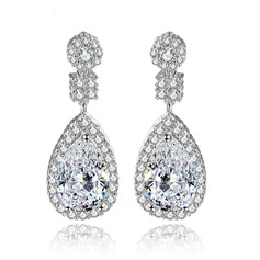 Shining Copper/Zircon/Platinum Plated Ladies' Earrings
