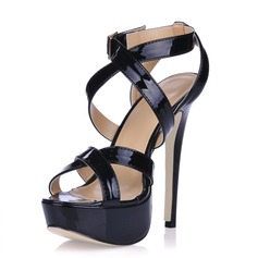 Patent Leather Stiletto Heel Sandals Platform Slingbacks With Buckle shoes