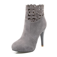 Women's Suede Stiletto Heel Pumps Closed Toe Boots Ankle Boots Mid-Calf Boots With Zipper shoes