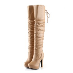 Women's Leatherette Chunky Heel Knee High Boots With Ruched shoes