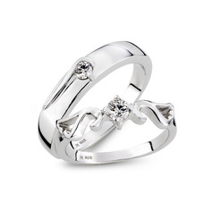 Sterling Silver Cubic Zirconia Round Cut Couple's Rings (289229836)