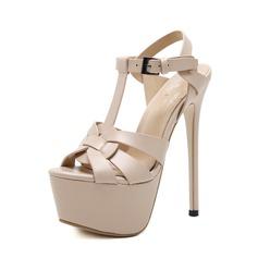 Frauen PU Stöckel Absatz Sandalen Absatzschuhe Peep Toe Slingpumps mit Schnalle Schuhe (087151061)