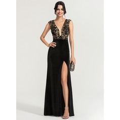 Sheath/Column V-neck Sweep Train Velvet Evening Dress With Sequins Split Front