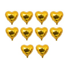 10pcs - 10inch Gold Heart Shaped Balloons