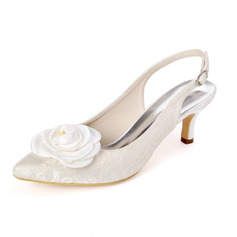 Women's Lace Satin Low Heel Sandals With Satin Flower