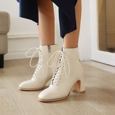 Women's Leatherette Chunky Heel Ankle Boots Square Toe With Solid Color shoes
